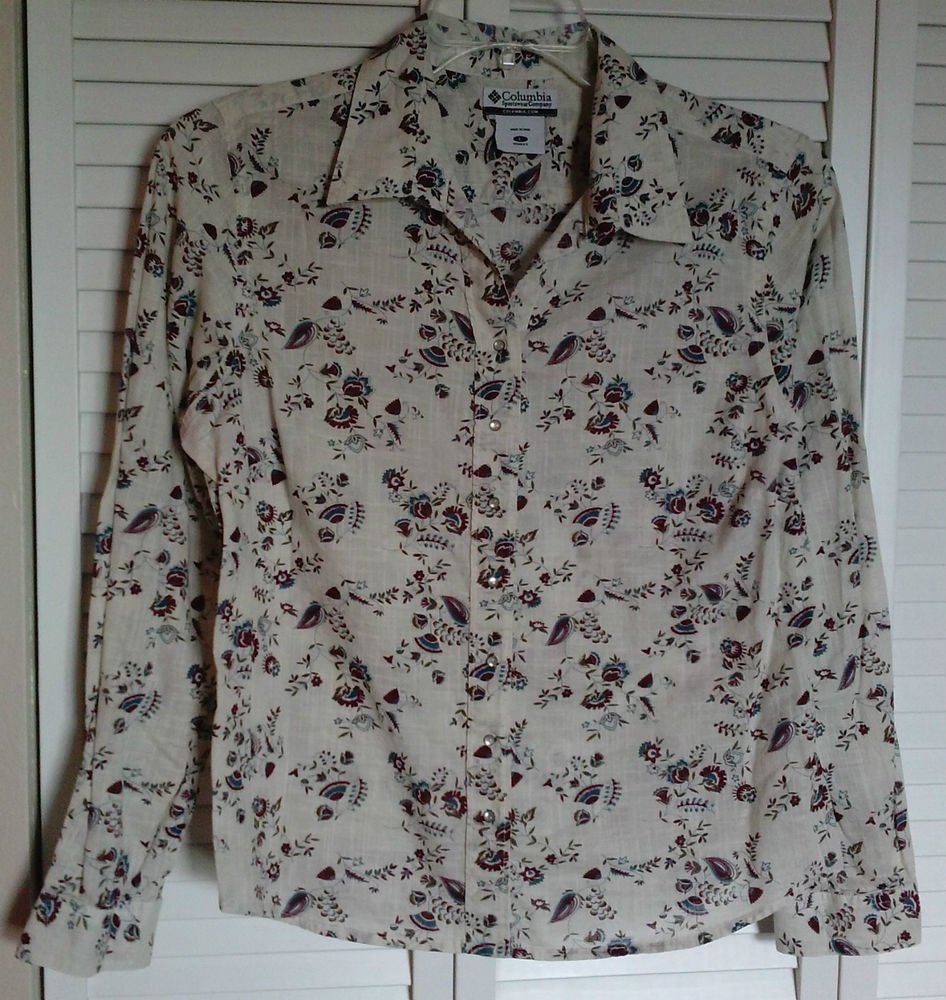 Columbia Sportswear Company Womens Large Snap Down Floral Lightweight Blouse