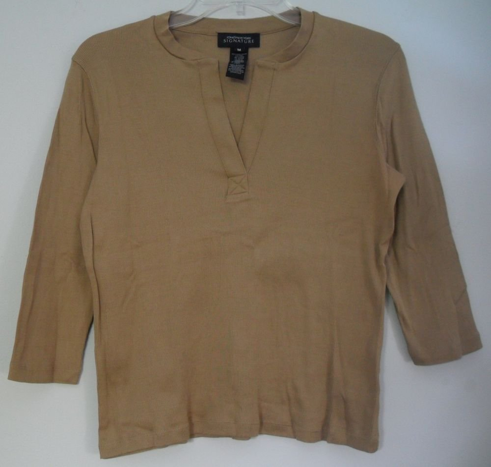 Jones New York Signature M Brown Split V-Neck Vertical Ribbed 3/4 Sleeve KnitTop