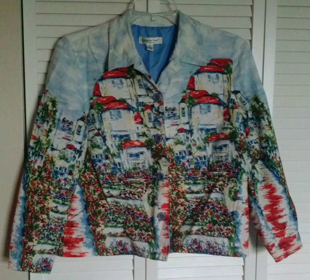 Coldwater Creek PM Seaside Villas Print Button Down Linen & Rayon Lined Jacket
