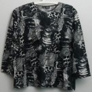LR Lynn Ritchie Silk Cotton XL  Snake  Animal  Black & White Print Pullover Top
