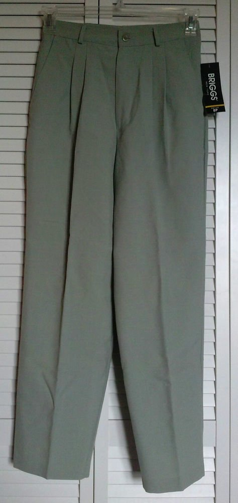Briggs New York 8P Sage Green Pleated Casual Dress Career Pants Poly & Rayon