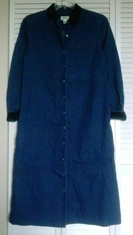 Talbots Size 10 Blue Denim Button Down Coat Dress w/ Chest Pocket & Black Trim