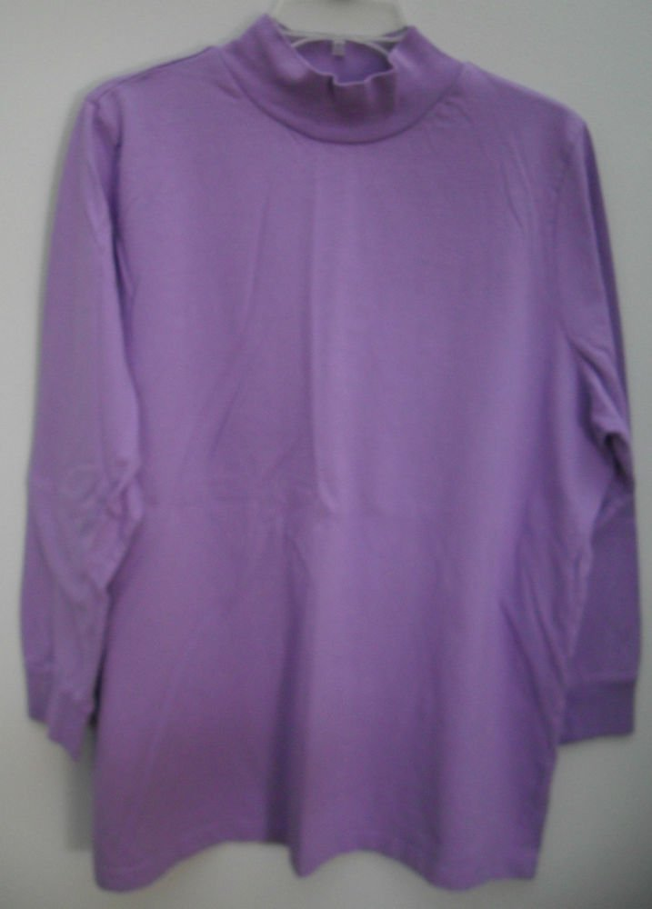 All American Comfort Plus 1X Purple Pullover Knit Top Bracelet Length Sleeves