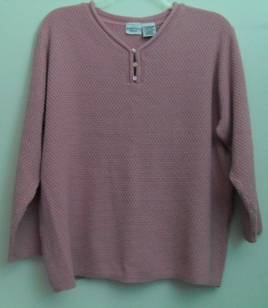 Bobbie Brooks Woman 18W 20W Pink Light Mauve Decorative Button Pullover Sweater