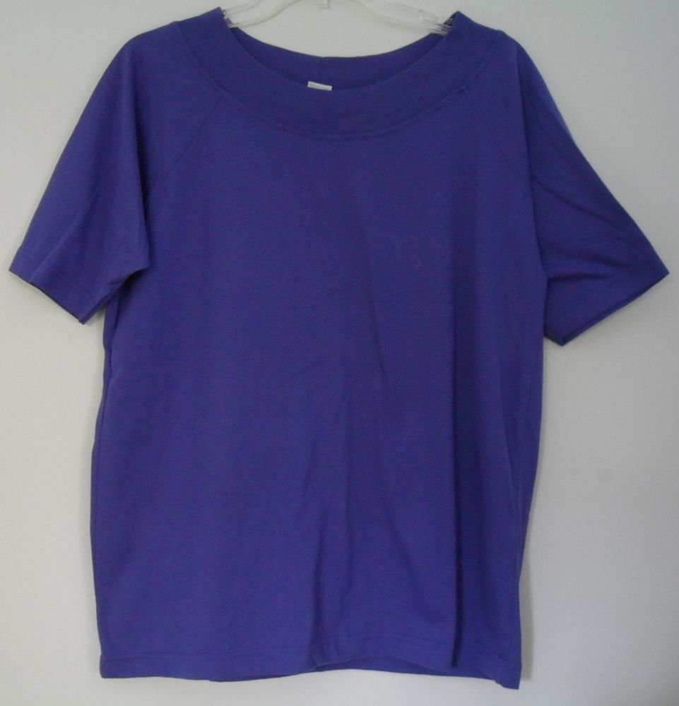 The Limited Womens size XL Purple Boatneck Knit Top Short Sleeve Poly/Cotton