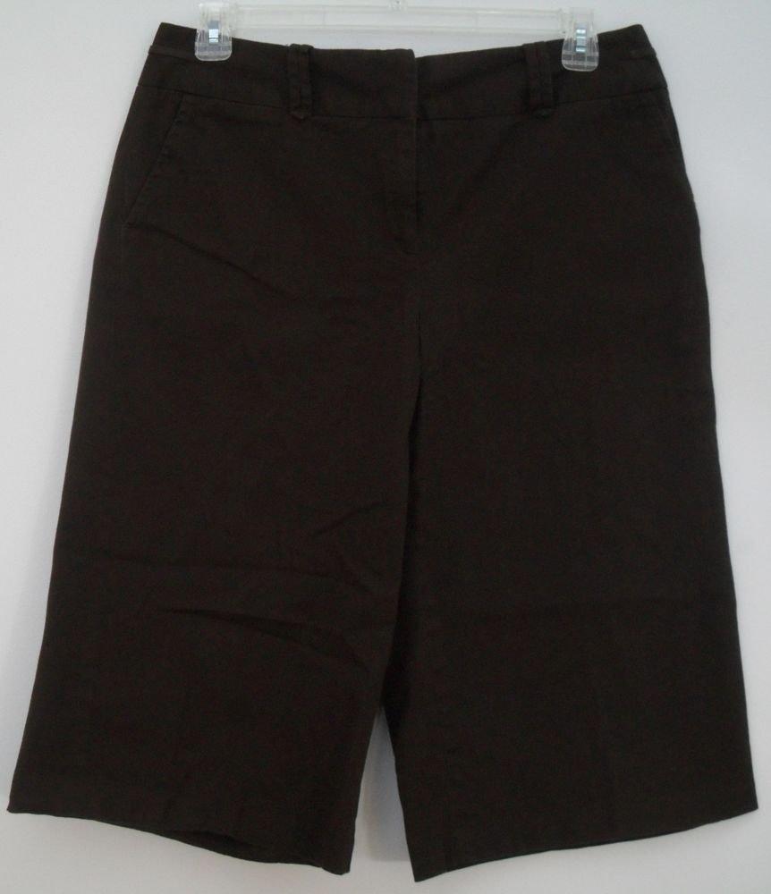 Bay Studio Khakis Capri Cut Pants Shorts Jorts Brown 2 Pockets Front Zip & Hook