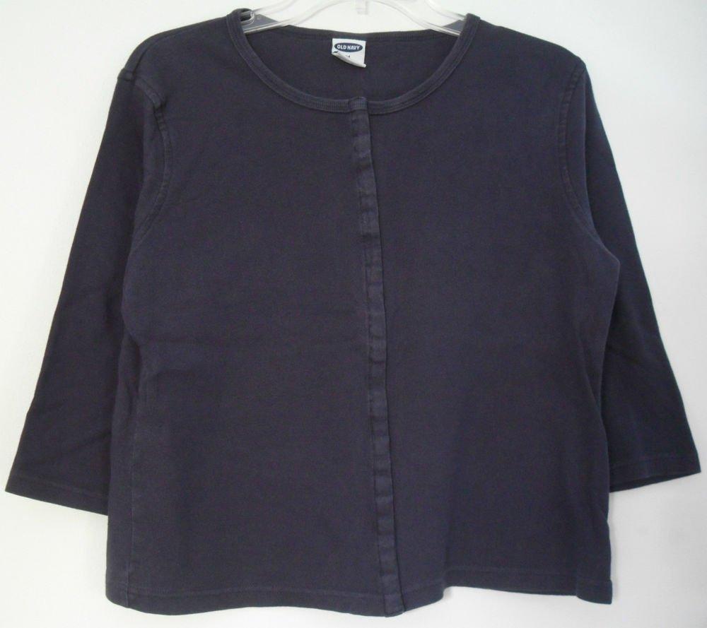 Old Navy Navy Blue Medium Long Sleeve Snap Down 100% Cotton Knit Top