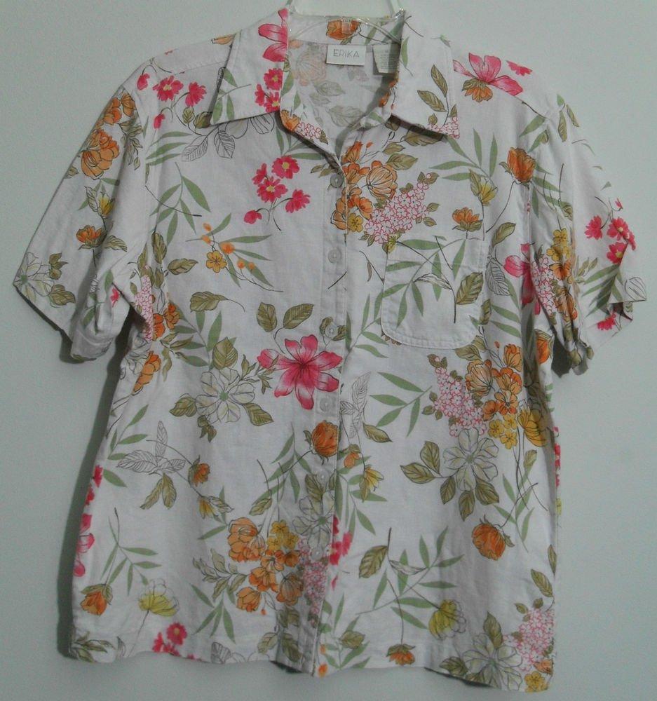 Erika Medium Floral Linen Blend w/ Rayon Chest Pocket Button Down Blouse Top