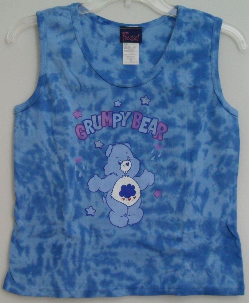 Freeze Care Bears Grumpy Bear Blue Purple Stars Tie Dye Juniors Medium Tank Top
