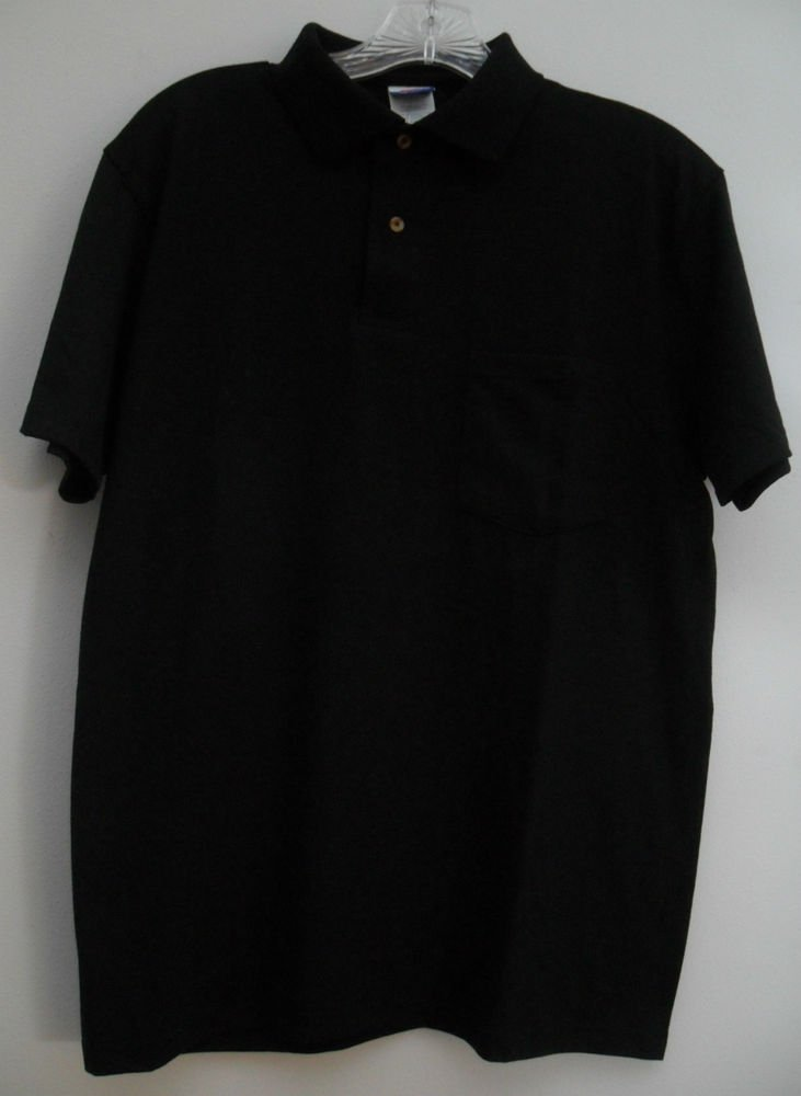 Hanes Stay Clean Mens Small Black Short Sleeve 2 Button Front 1 One Chest Pocket