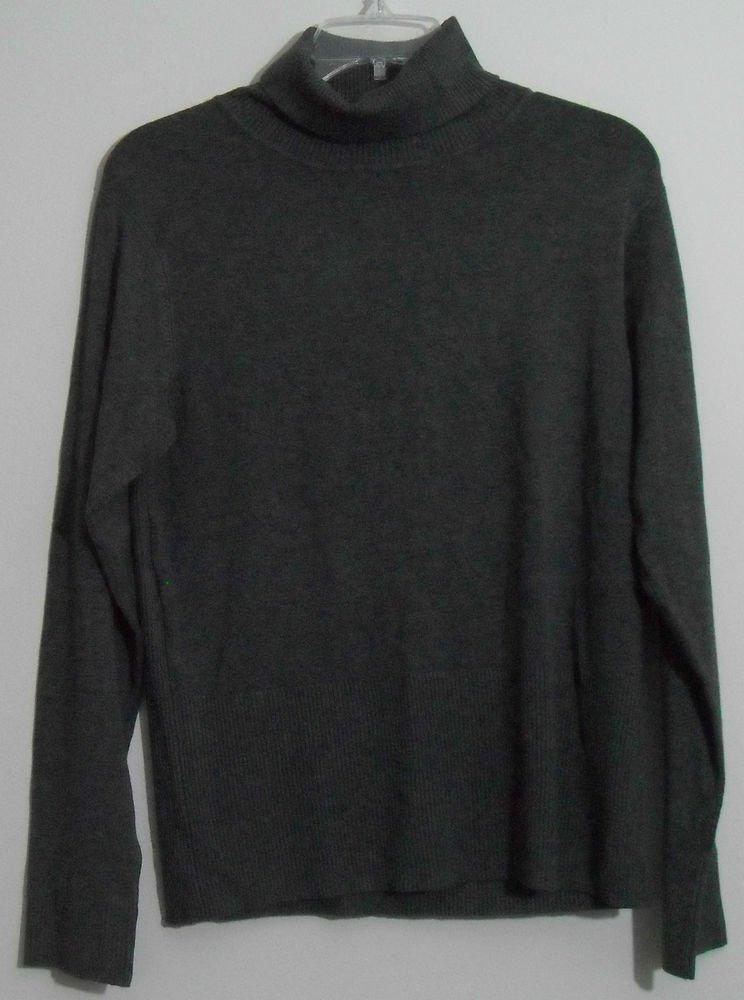 Focus 2000 XL Gray Rayon Nylon Spandex Turtleneck Sweater Ribbed Neck & Bottoms