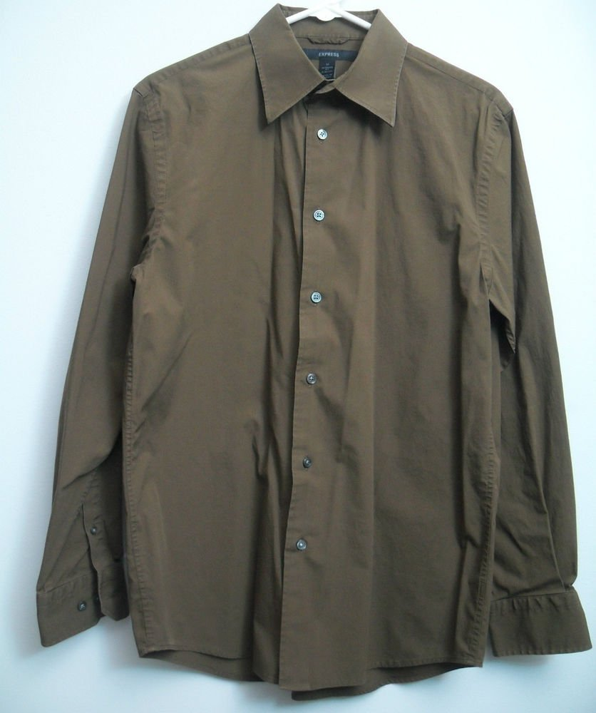 "Express Mens 15"" Medium Modern Fit Stretch Dress Button Locker Loop Long Sleeve"