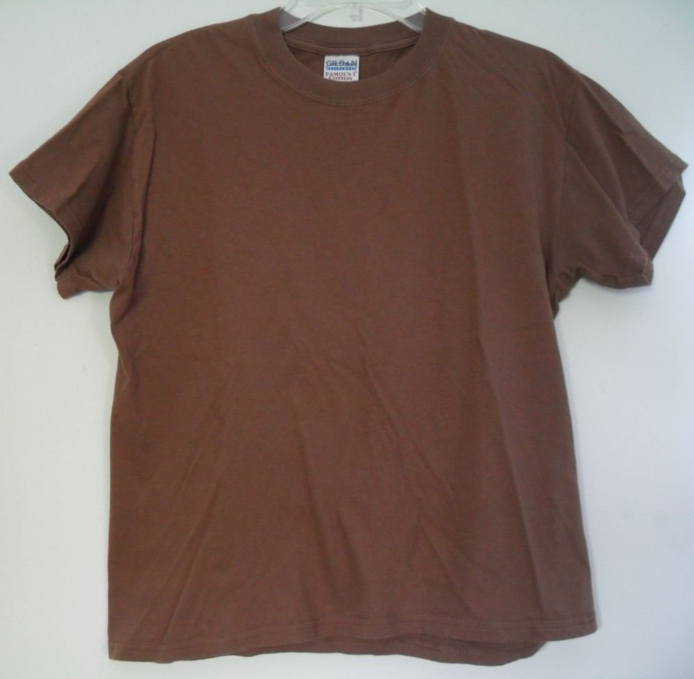 Gildan Activewear Famous-T Cotton Brown Crew Neck Brown Short Sleeve Casual Top