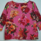 Talbots Floral Colorful Flower Knit Top 3/4 Sleeve Boatneck 100% Cotton Pullover