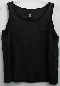 NWT Apostrophe Petite 100% Silk PXL Black Sheer Tank Top  2 Pockets