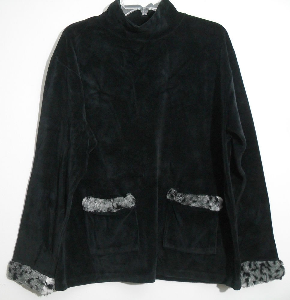 Onque Casual Black Velour Top / Animal Print Faux Fur Trim Sleeves Pockets Large