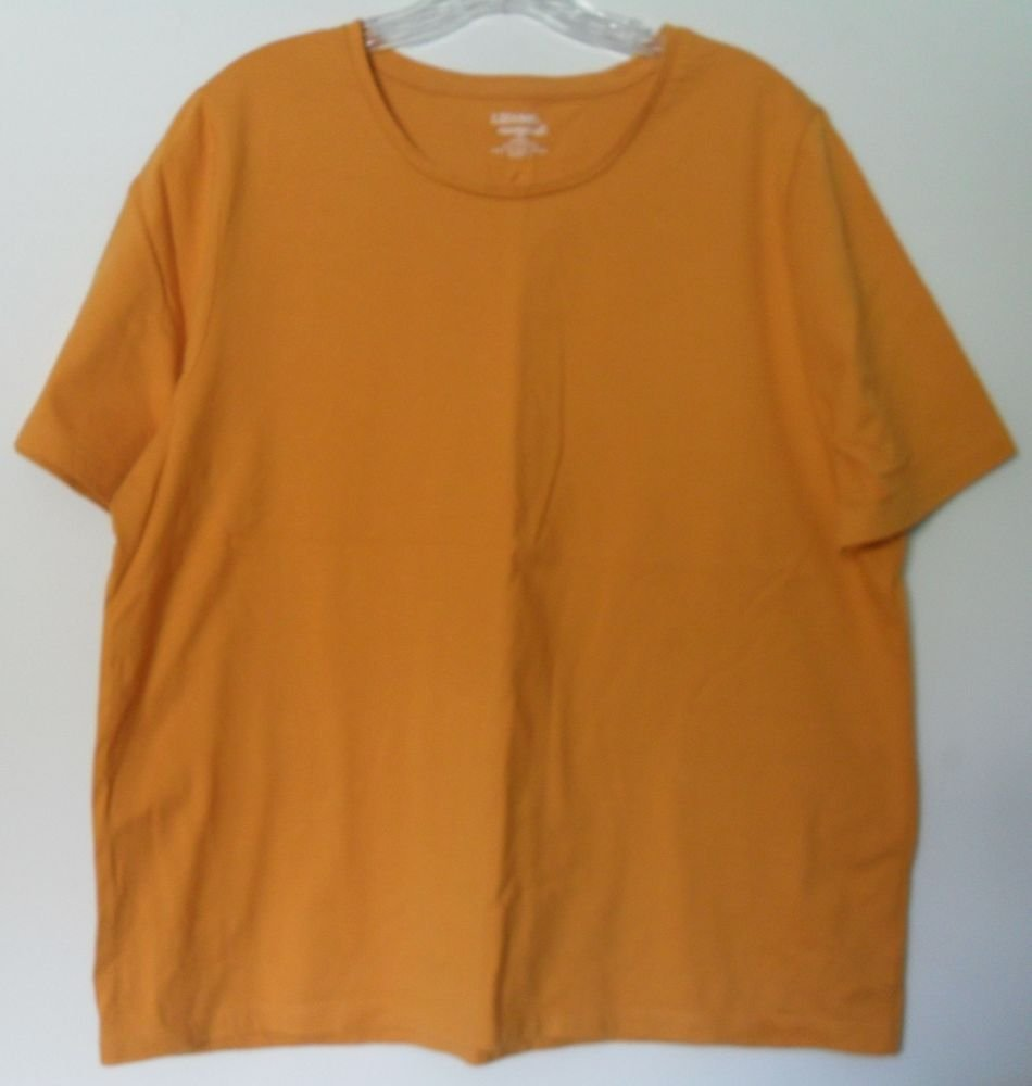 Liz & Me Essentials Orange 0X 14/16W 100% Cotton Short Sleeve Solid Orange Knit