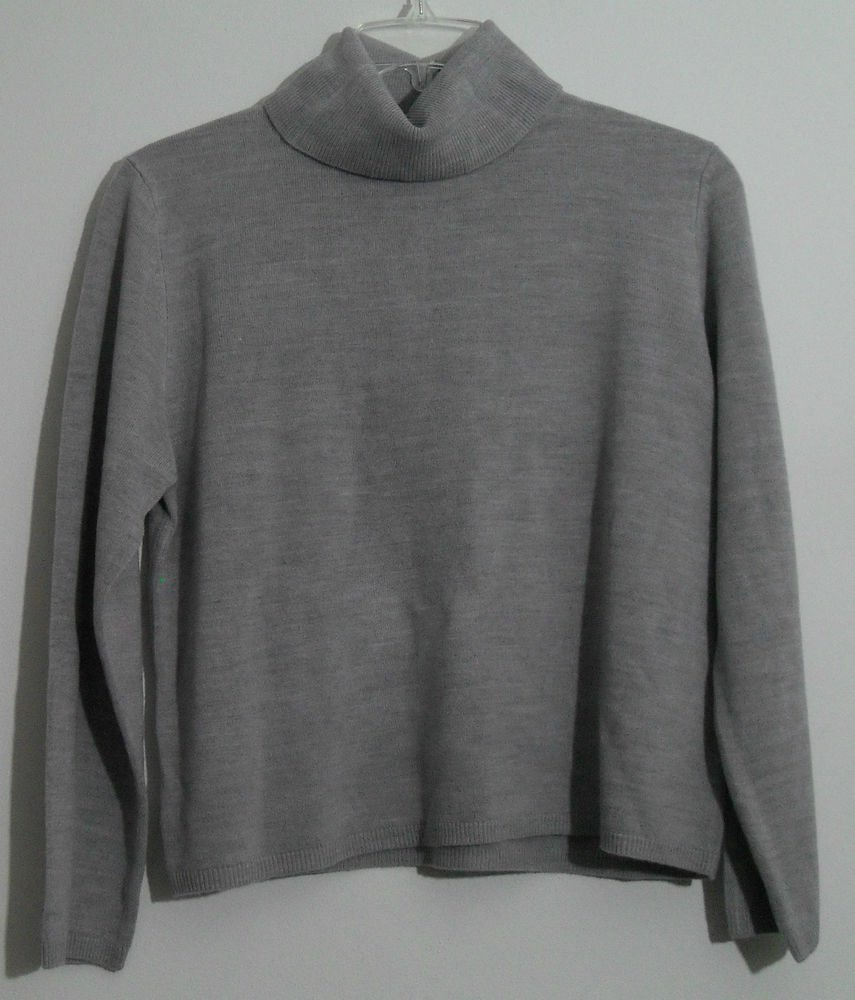Draper's & Damon's Soft Spun® Turtleneck Sweater Heather Gray 100%  Acrylic PXL