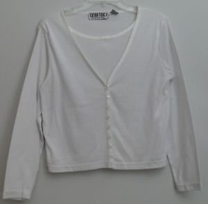 Extra Touch Petites White Button 2fer Cardigan w/ Attached Top Medium Weight
