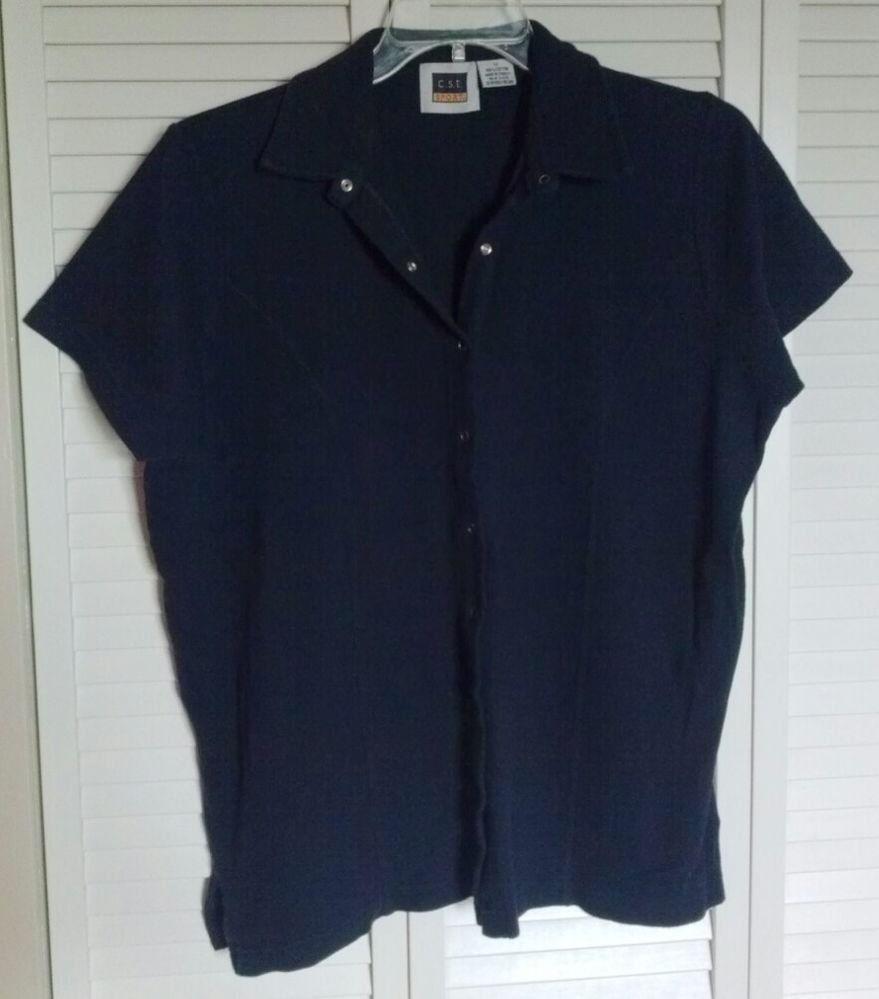 C.S.T. Sport 1X Navy Blue Short Sleeve Snap Down  Shirt Top w/ Princess Seams