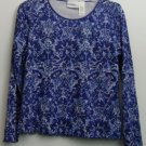 Liz Claiborne L Large Scalloped Lettuce Edges Bottom & Sleeves Blue Shades