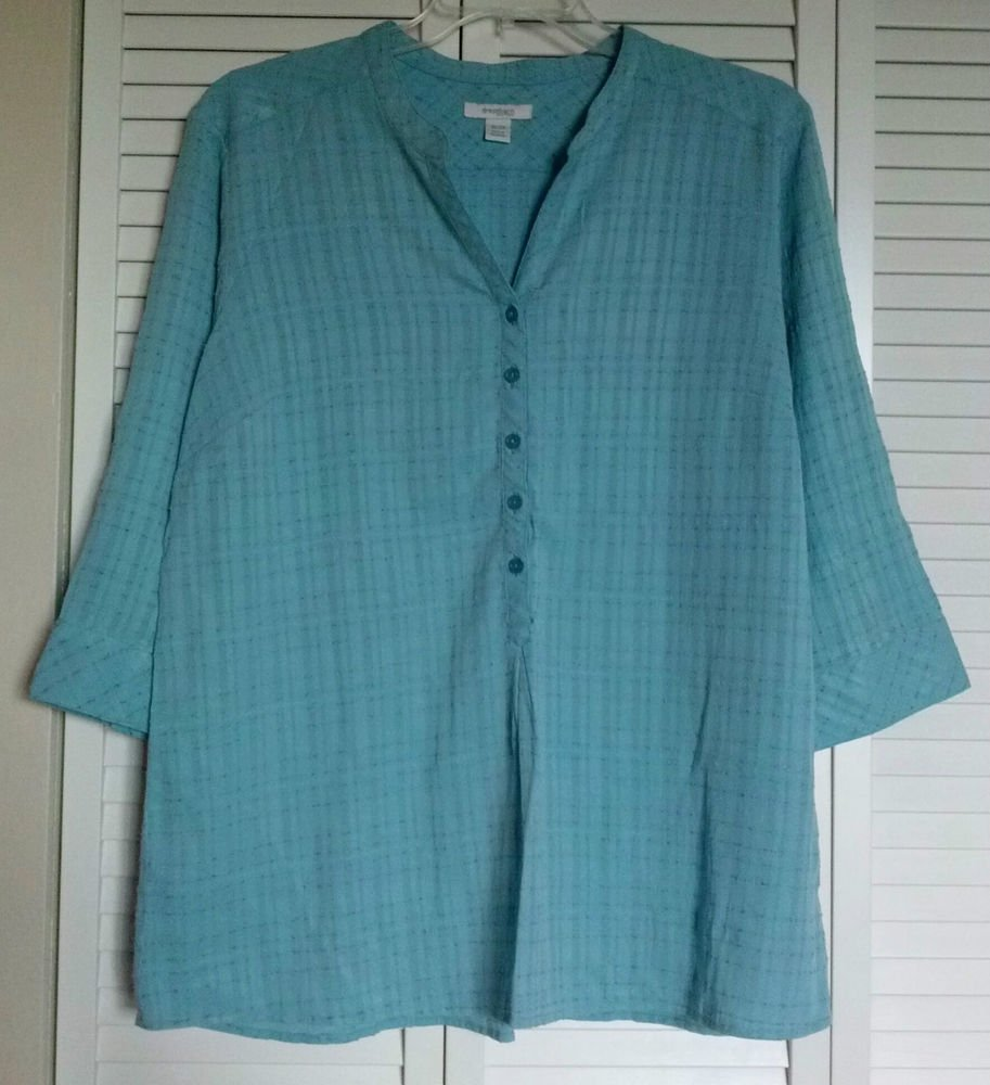 Dressbarn Woman 18 20 Blue Mandarin Collar Textured Material Button Blouse Top
