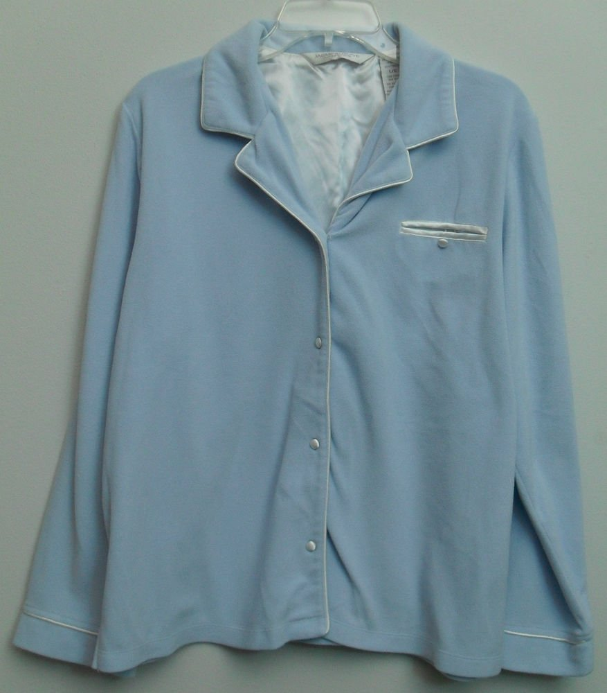 Jasmine Rose Intimates by Morsam Fashions Sky Blue Fleece Full Button Front Top