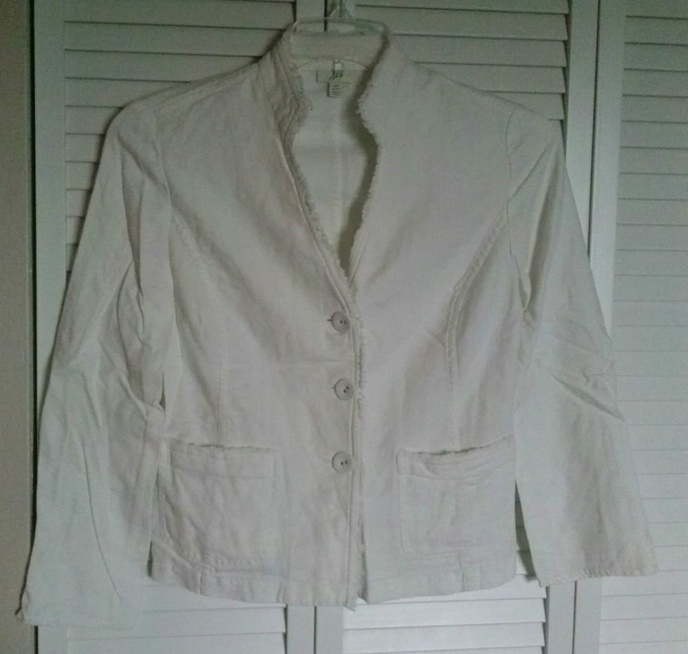 J.Jill 8P White Linen Rayon 2 Pocket Mandarin Collar Cloth Buttons Fray Fringe