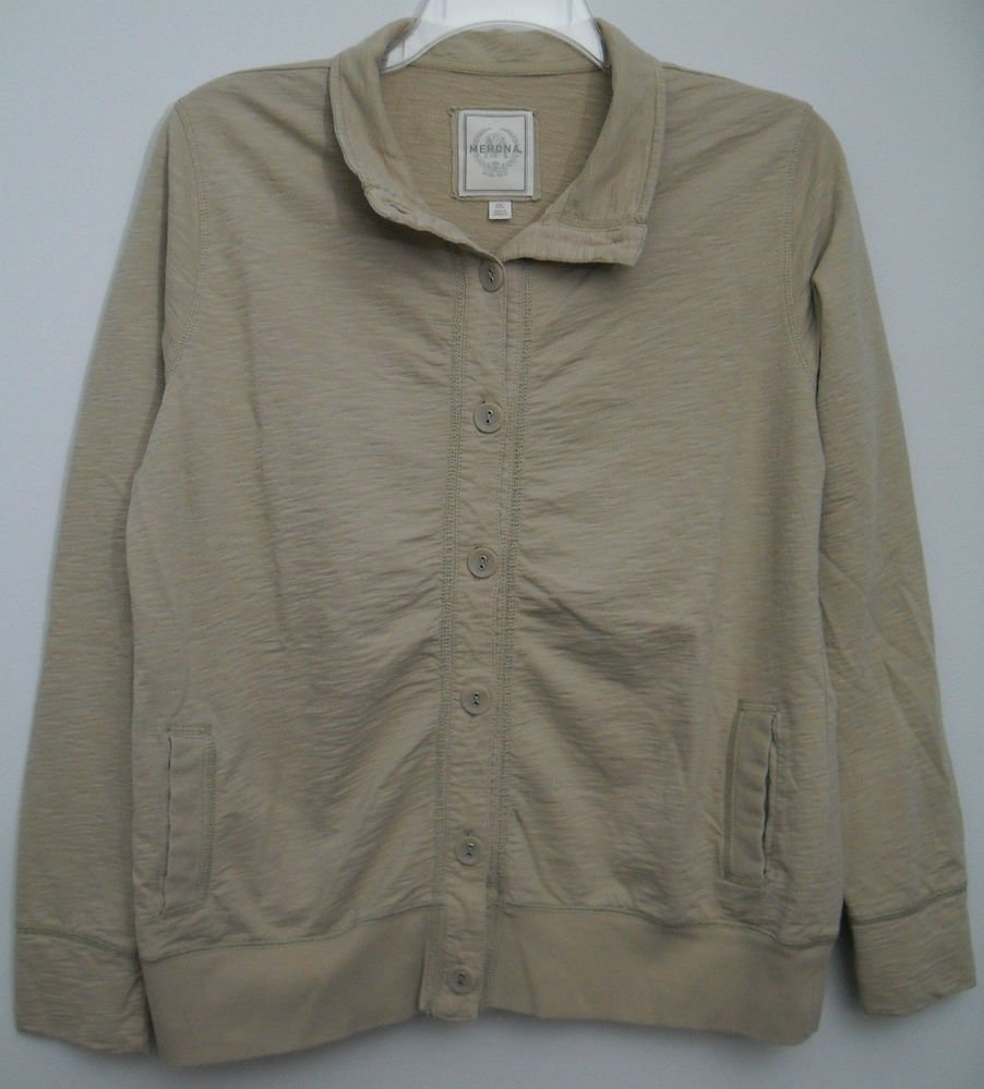 Merona Womens XXL Lightweight Button Down Cotton Cardigan Jacket 2 Open Pockets