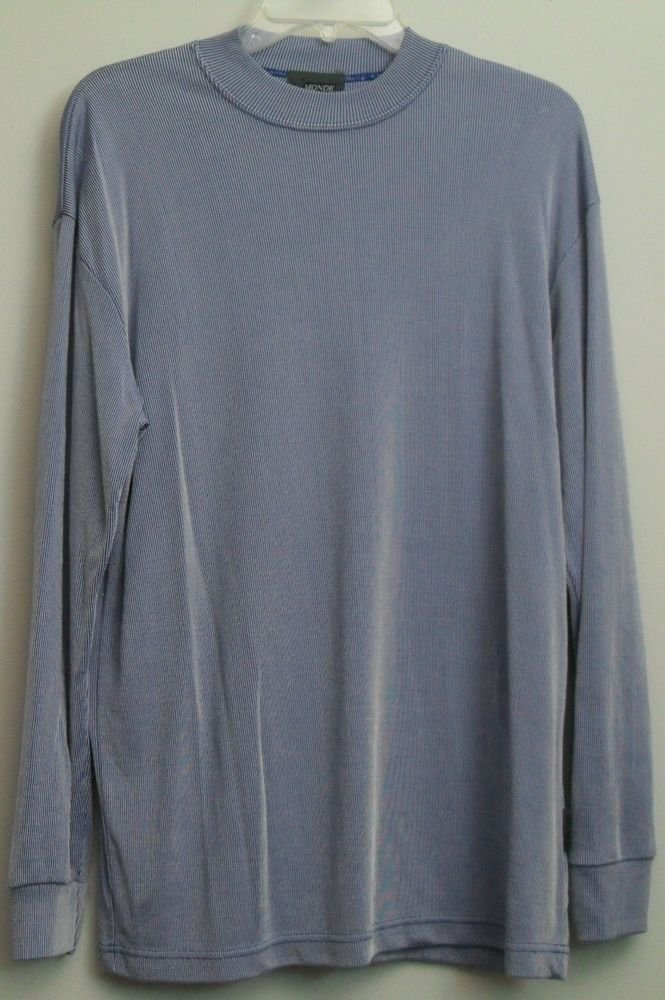 Le Monde Homme Couture Mens XL Rayon Polyester Blend Blue White Long Sleeve Top