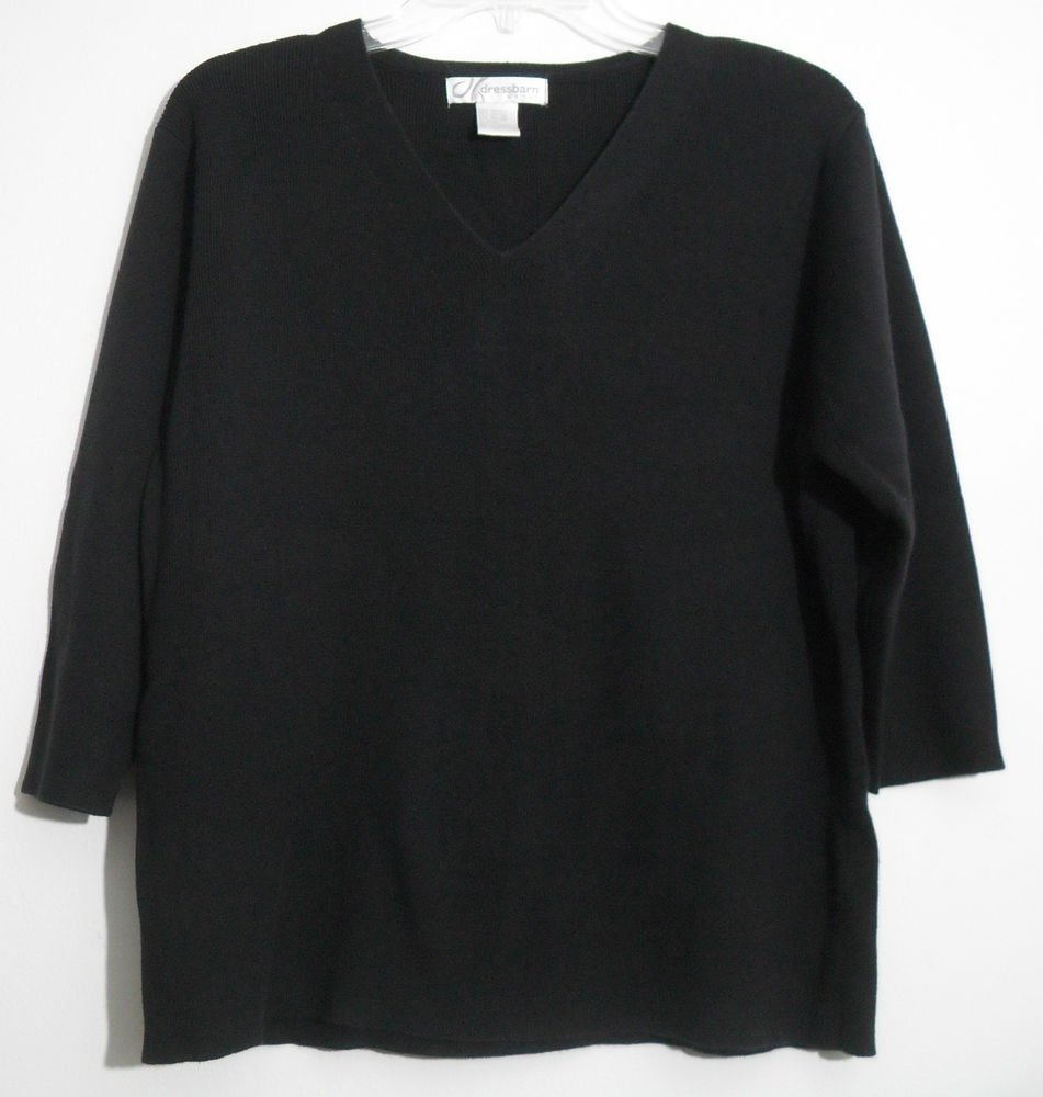 Dressbarn Woman Acrylic & Cotton Black 3/4 Sleeve V-neck Pullover Sweater 14/16
