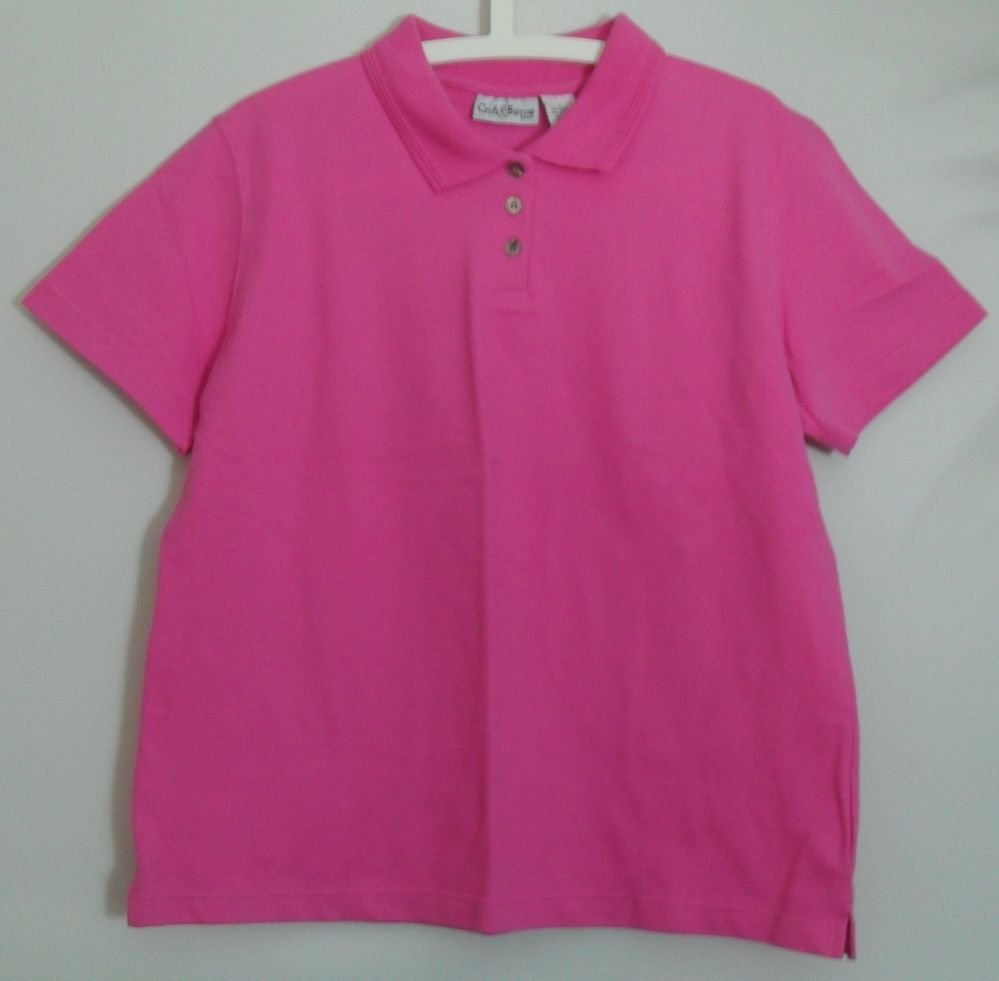 """Croft & Barrow Sport L Large Pink Polo 3 Button Collared Short Sleeve 1.5"""" Slits"""