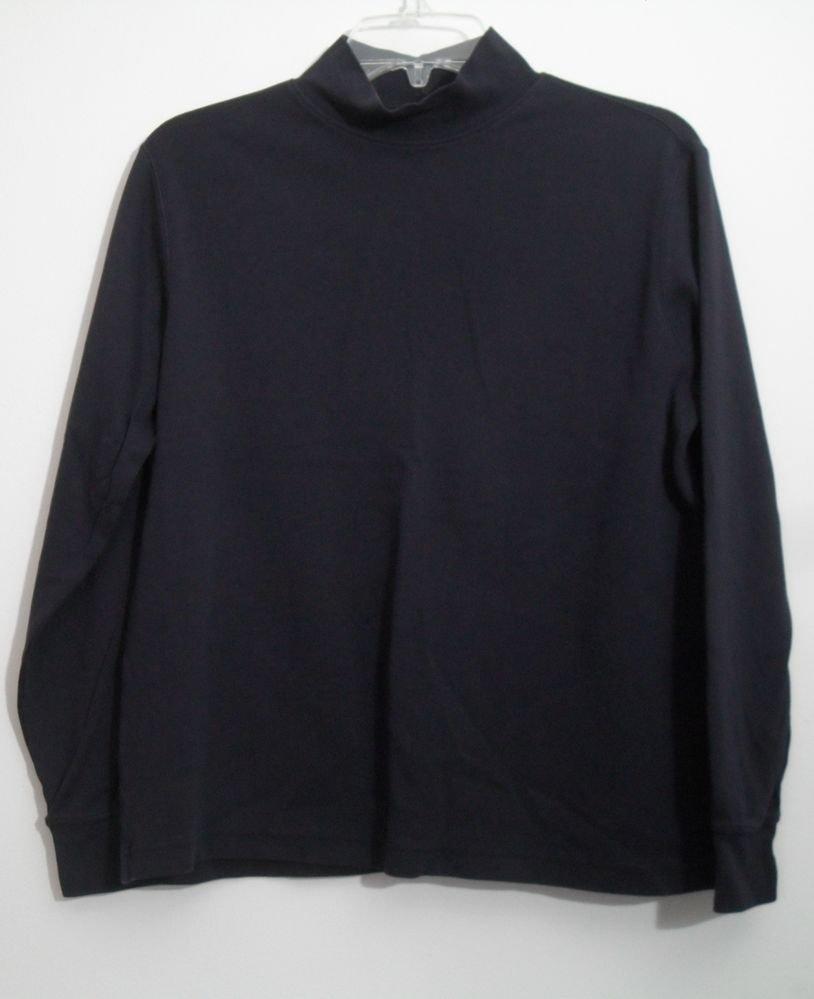 Land's End M 10-12 Regular Body Black Mock Turtleneck Cotton Spandex Long Sleeve