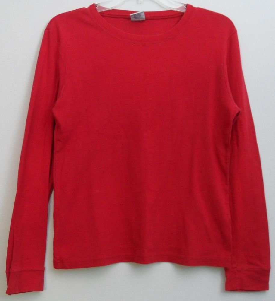 Old Navy Womens M 100% Cotton Long Sleeve Red Pullover Knit Top Vertical Lined
