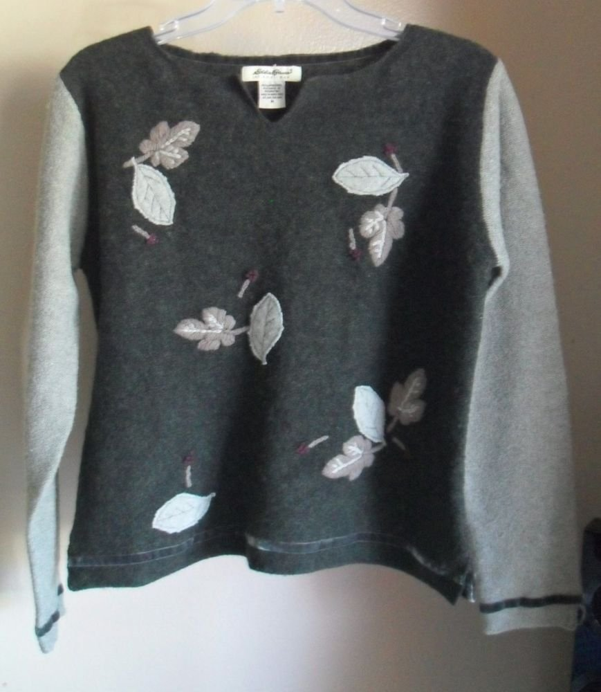 Eddie Bauer 100% Lambs Wool Pullover Notch Neck Sweater w/ Floral Leaf Patches M