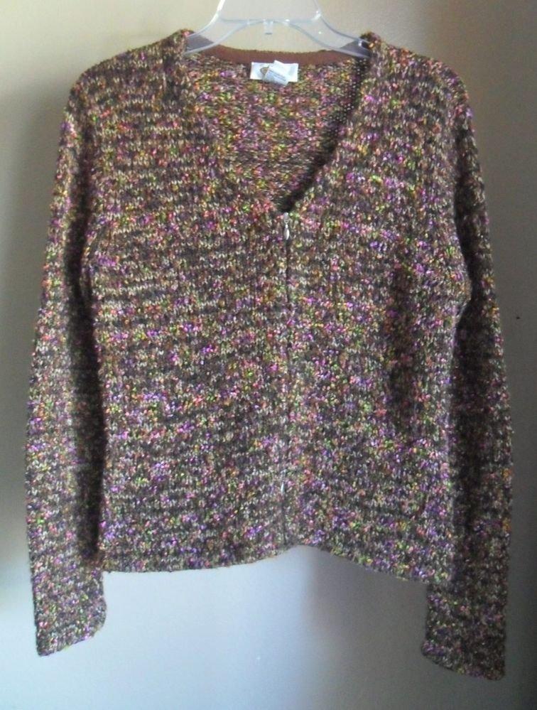 "Talbots Acrylic Blend "" Shag "" Two Way Zipper Full Zip Cardigan Sweater Small"