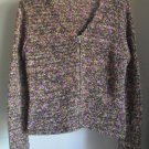 "Talbots Acrylic Blend "" Shag "" Two Way Zipper Full Zip Cardigan Sweater Small"