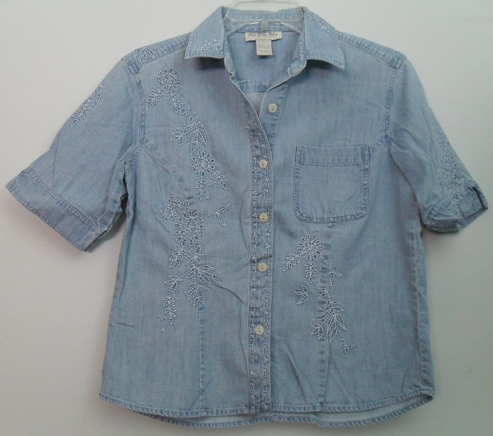 J. Jill Out of the Blue Denim Floral Embroidered Princess Seams Pocket  Shirt XS