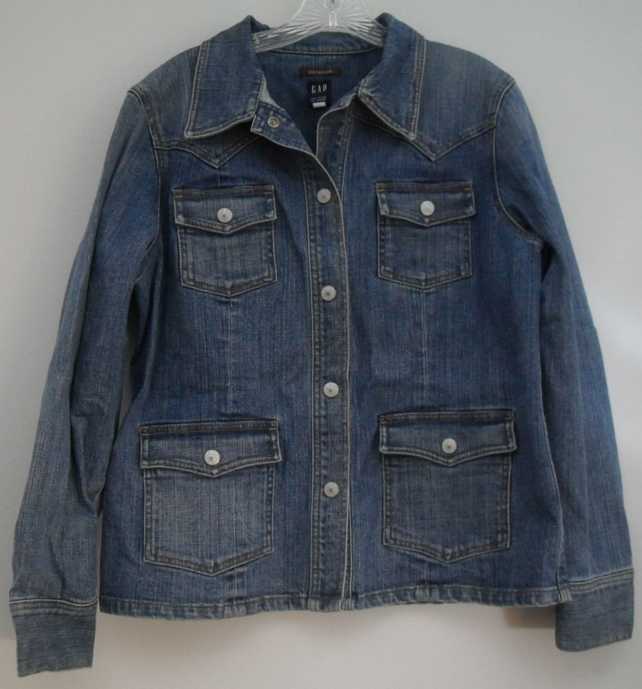 Gap Stretch Jean Jacket Snap Button Down 4 Front Patch Pockets Snap Cuff Size Lg