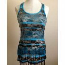 No Boundaries Aqua & Black Bling Tank (S)