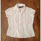 NY & Company Pink Pinstriped Short Sleeved Blouse (S)