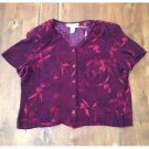 Vtg. 80s Norton Mcnaughton Rayon Floral Blouse (XL)