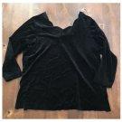 Vtg. 80s Roaman's Black Velvet Pullover Top (24W)