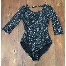 Xhilaration Black & Tan Patterned Lace Leotard (M)