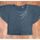 New York & Co. Dark Gray Rayon Batwing Top Beaded Medium M