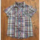 Active Plaid Button Down Top Red White Blue Cotton Jrs. Small S
