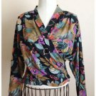 VIntage 80s Blouse In Group Limited Crossover Floral Rayon Size 6 EUC