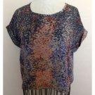 Liberty Love Nordstrom Speckled Crop Fit Blouse Multi color Medium M EUC