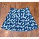 Jonathan Martin Blue Floral Full Mini Skirt Polyester Size 9/10 EUC