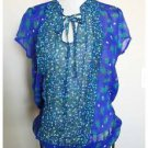 Sam & Max Blue Floral Sheer Peasant Blouse Ties at Neck Large L EUC